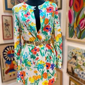 Vintage Colorful Floral Cardigan Kimono Wrap Top